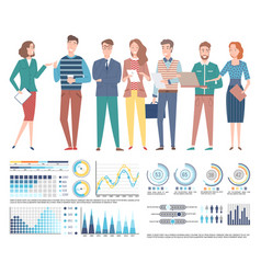 team professional specialists business charts vector image
