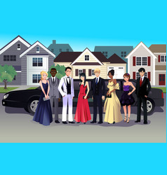 Teen in prom dress standing in front a long vector