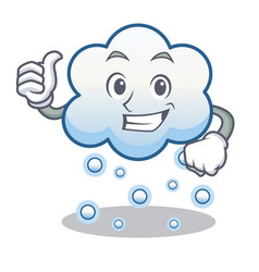 thumbs up snow cloud character cartoon vector image