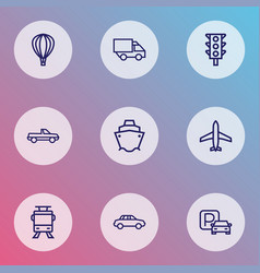 transportation icons line style set with cabriolet vector image