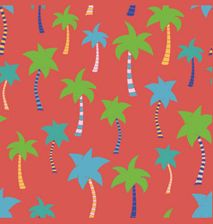 tropical palm tree hand drawn red seamless pattern vector image