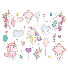 unicorns trendy with clouds and plants leaves vector image
