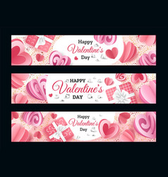 valentines day banners realistic romantic vector image