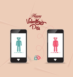 Valentines day connecting hearts together by phone vector