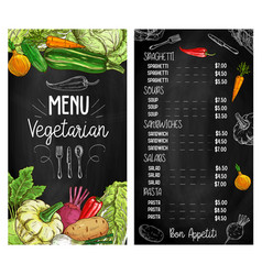 Vegetable salads chalkboard sketch menu vegetarian vector