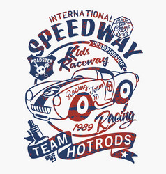 vintage speedway kids roadster racing team vector image