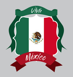 Viva mexico insignia flag with decorative ribbon vector