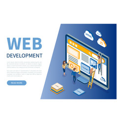 Web development monitor and workers developers vector