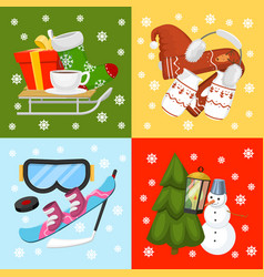 winter holiday time banner card vector image