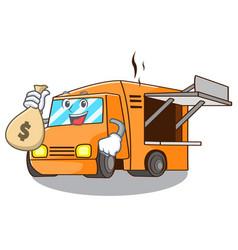 With money bag rendering cartoon of food truck vector