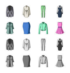 women clothing cartoonmonochrome icons in set vector image