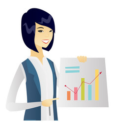 young asian business woman showing financial chart vector image