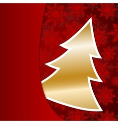 Golden Christmas tree on red snowflake background vector image vector image