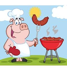 Pig chef cooking pork cartoon vector image vector image
