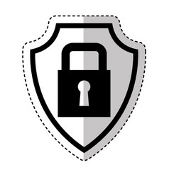 shield insurance with padlock isolated icon vector image