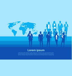 silhouette businesspeople group over world map vector image vector image