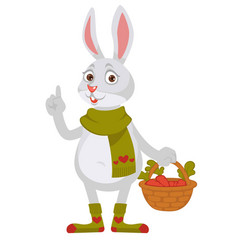 funny rabbit in knitted scarf and socks holds vector image vector image