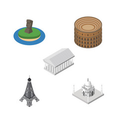 isometric architecture set of athens paris india vector image vector image