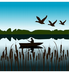 Landscape with fisherman in a boat vector image