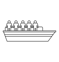 People on ship icon outline style vector