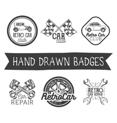 set of hand drawn retro car labels in vector image