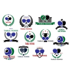 Table tennis sporting icons and labels set vector