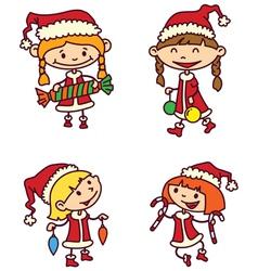 Christmas girls vector image vector image