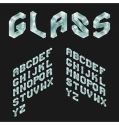Glass Isometric Latin Alphabet 3D Geometric Font vector image