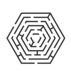 Labyrinth or Maze Hexagon Shape vector image