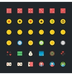 Casino or Poker icons set vector image
