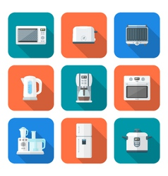 Color flat style various kitchen devices set vector