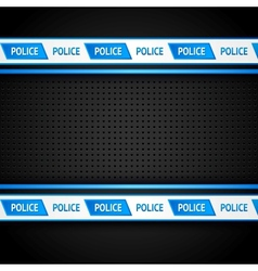 Metallic perforated black sheet police background vector image vector image