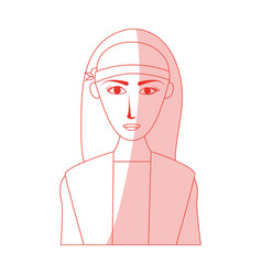 red silhouette shading cartoon half body woman vector image vector image