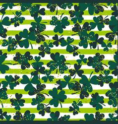 shamrock green striped trefoil leaf seamless vector image