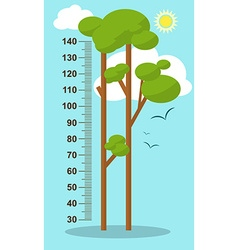 Trees on blue background Children height meter vector image vector image