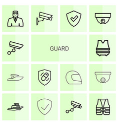 14 guard icons vector image