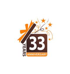 33 years gift box ribbon anniversary vector image