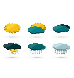 3d graphic weather icons set vector image