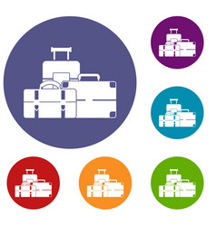Baggage icons set vector