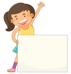 Banner template with happy girl vector