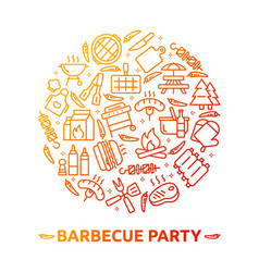 bbq party barbecue grill picnic vector image