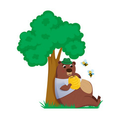 bear under the tree with bee hive and eats honey vector image