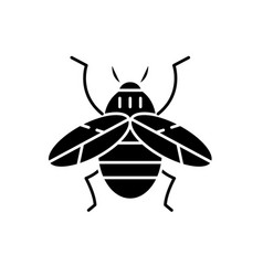 Bee black icon sign on isolated background vector