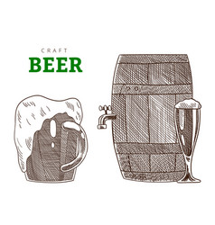 beer glass mug and barrel or tank from brewery vector image