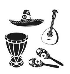 Black and white mexican music set vector