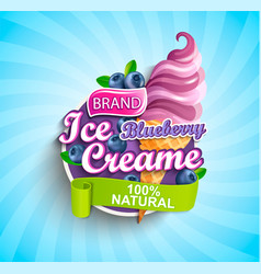 blueberry ice cream logo label or emblem vector image