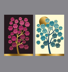 blummig floral tree pattern in brght asian style vector image