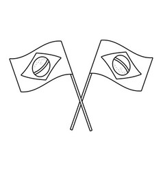 Brazil flags tilted in black and white vector