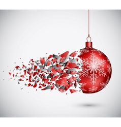 Broken red christmas ball vector