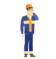Builder talking on a mobile phone vector
